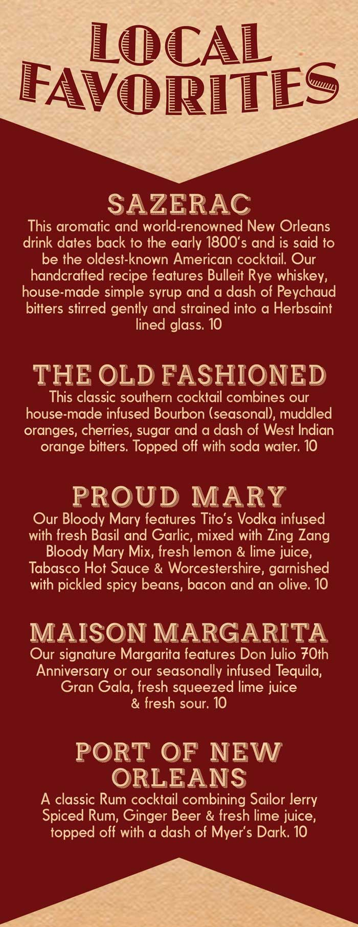 Local New Orleans Favorite Cocktails served at The Maison