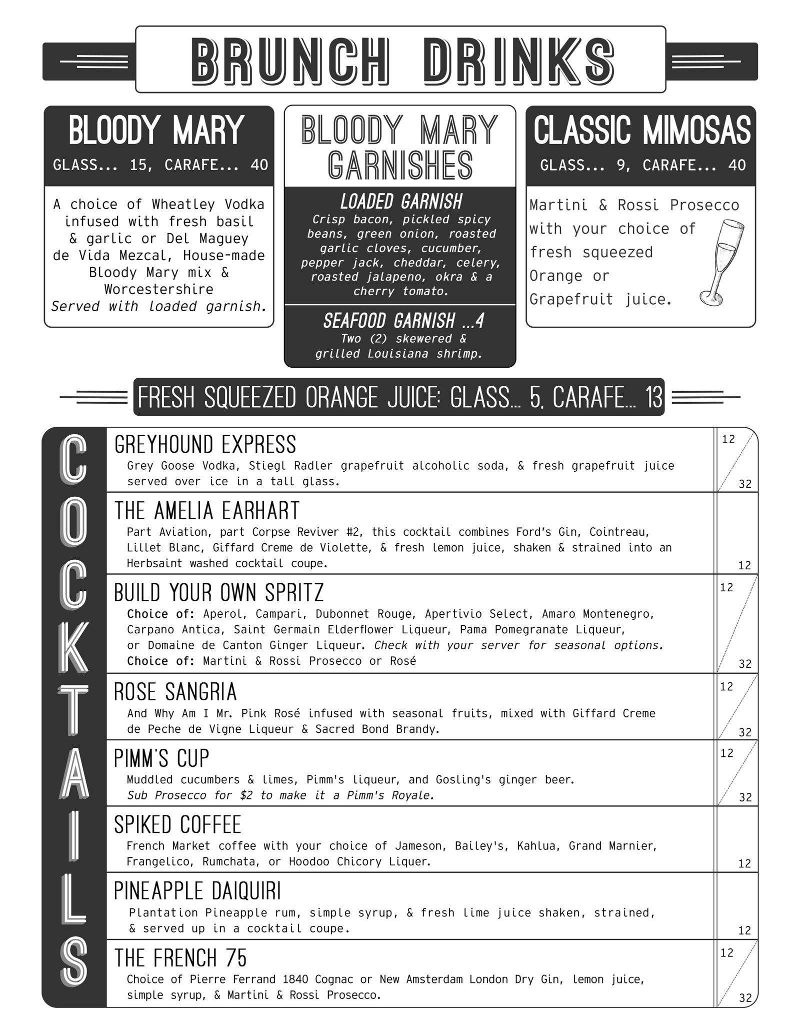 Maison New Orleans Brunch Cocktails Menu